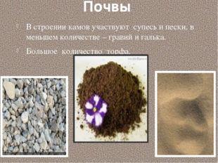 Почвы В строении камов участвуют супесь и пески, в меньшем количестве – грави