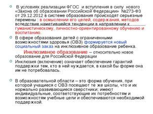 В условиях реализации ФГОС и вступления в силу нового «Закона об образовании
