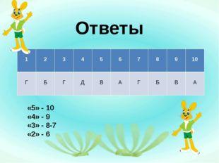 Ответы «5» - 10 «4» - 9 «3» - 8-7 «2» - 6 1 2 3 4 5 6 7 8 9 10 Г Б Г Д В А