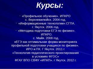 «Профильное обучение». ИПКРО с. Верхневилюйск. 2004 год. «Информационные техн