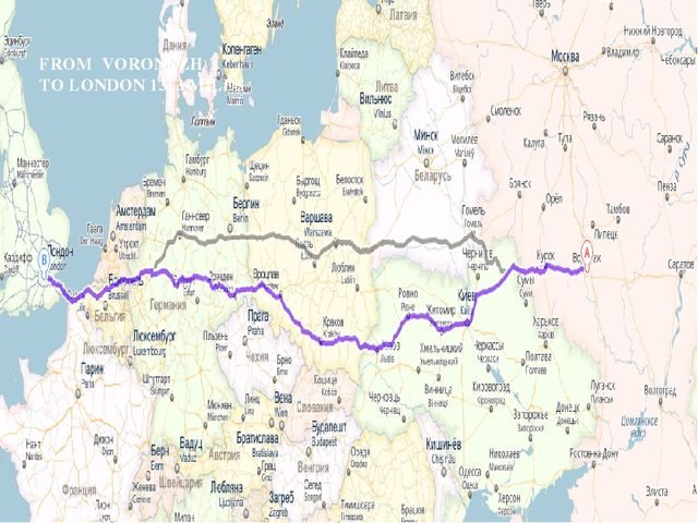 FROM VORONEZH TO LONDON 1313 MILES