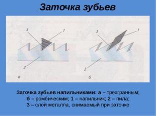 Заточка зубьев напильниками Заточка зубьев напильниками: а – трехгранным; б –