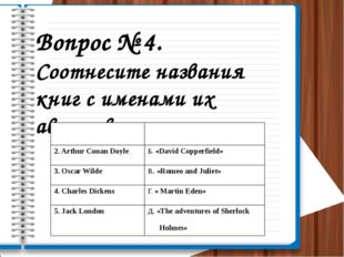 Вопрос № 4. Соотнесите названия книг с именами их авторов. 1.William Shakespe
