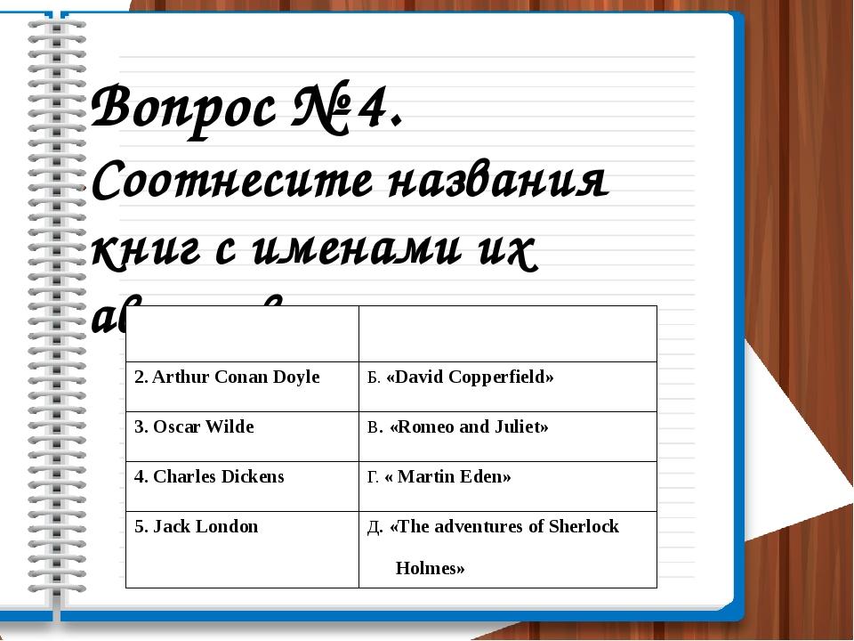 Вопрос № 4. Соотнесите названия книг с именами их авторов. 1.William Shakespe...