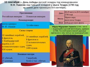 11 сентября — День победы русской эскадры под командованием Ф.Ф. Ушакова над