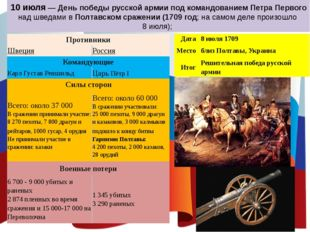 10 июля — День победы русской армии под командованием Петра Первого над шведа