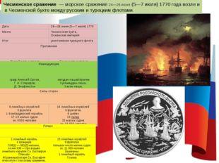 Чесменское сражение—морскоесражение24—26 июня(5—7 июля)1770годавозле