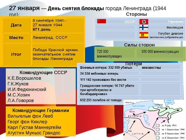 27 января — День снятия блокады города Ленинграда (1944 год); Командующие ССС...