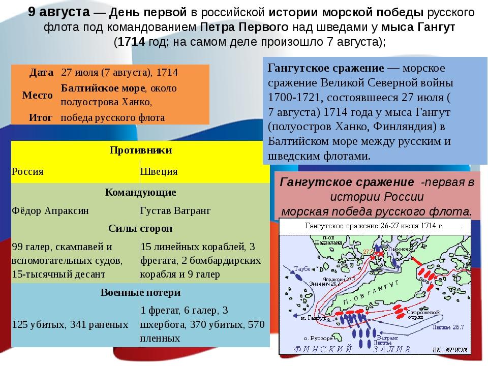 9 августа — День первой в российской истории морской победы русского флота по...