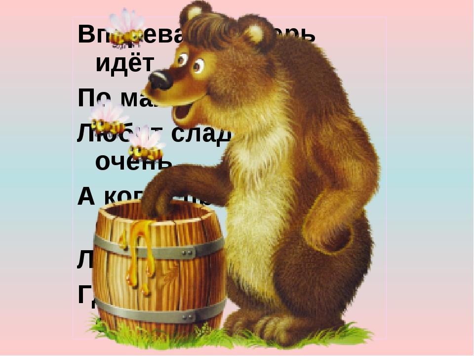 Вперевалку зверь идёт По малину и по мёд. Любит сладкое он очень, А когда при...