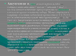 Анеуплоиди́я (греч. an + eu + ploos + eidos— отрицательная приставка + вполн