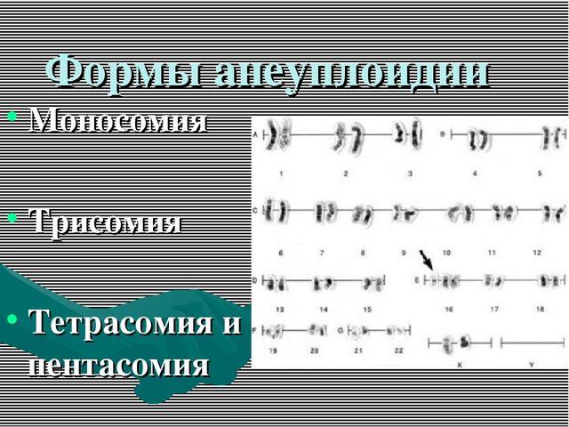 Формы анеуплоидии Моносомия Трисомия Тетрасомия и пентасомия