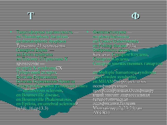 Т Ф Танатофорная карликовость — en:Thanatophoric dwarfism, en:thanatophoric d...