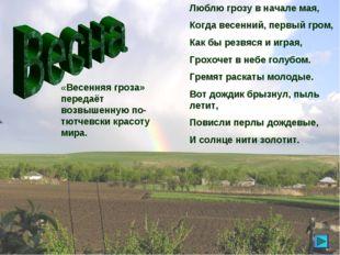 «Весенняя гроза» передаёт возвышенную по-тютчевски красоту мира. Люблю грозу