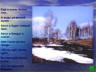 Ещё в полях белеет снег, А воды уж весной шумят – Бегут и будят сонный брег,