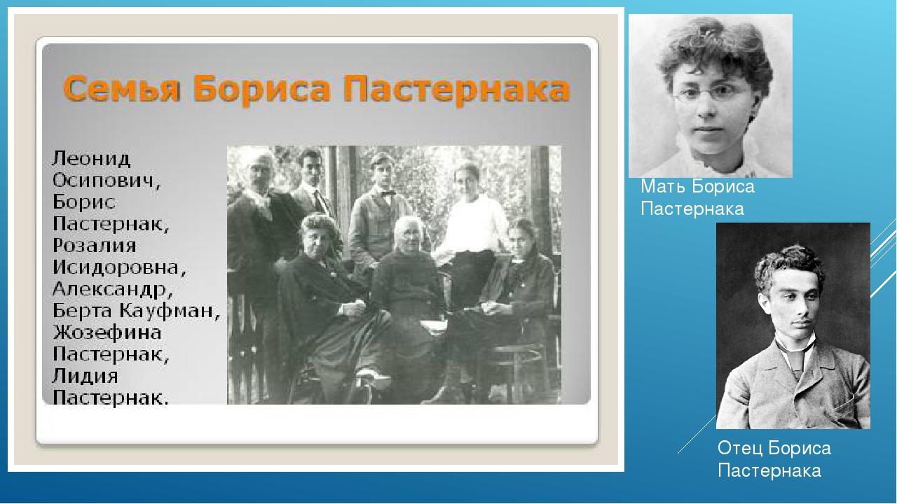 Мать Бориса Пастернака Отец Бориса Пастернака