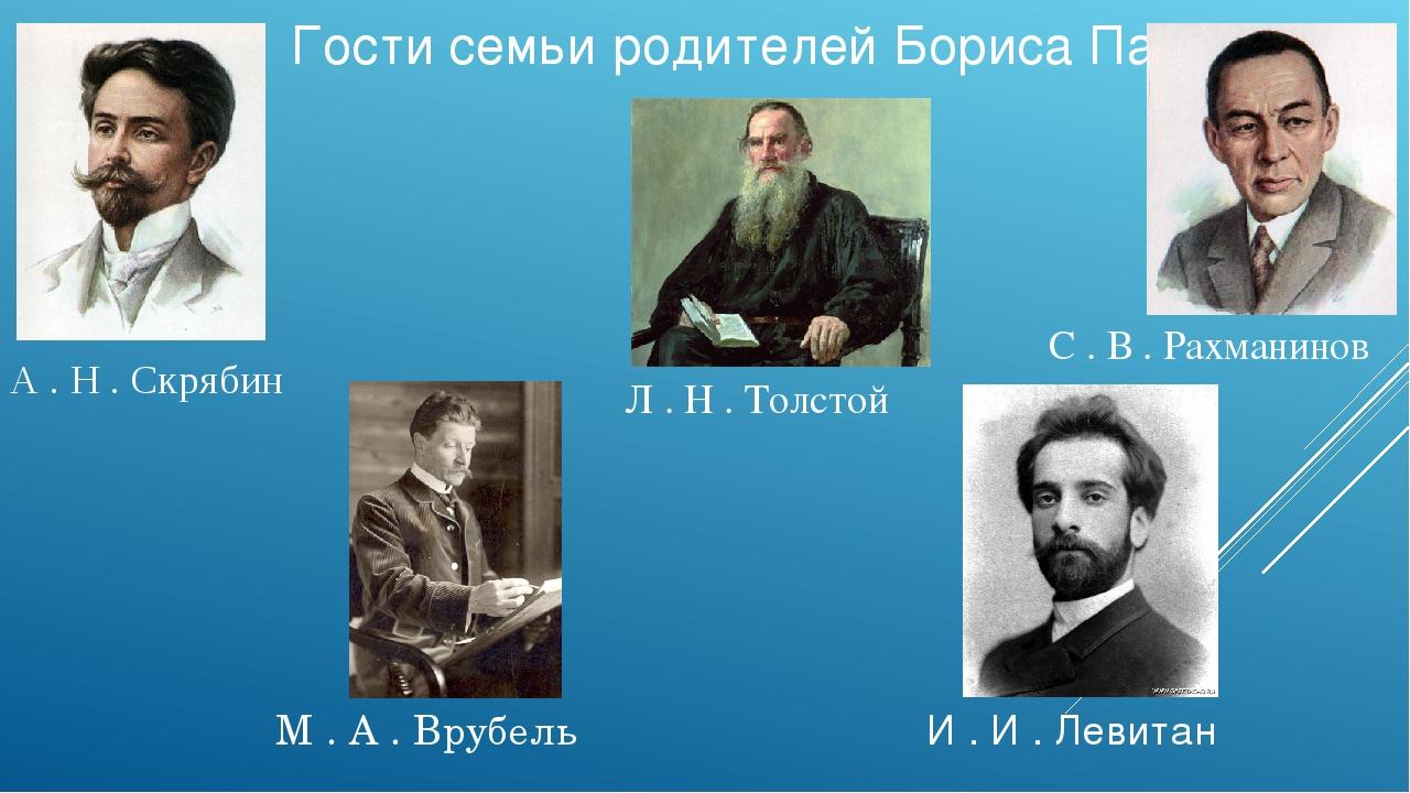 Гости семьи родителей Бориса Пастернака Л . Н . Толстой М . А . Врубель А . Н...