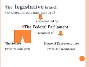 The legislative branch (законодательная власть) is represented by The Federal