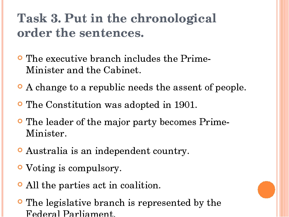 Task 3. Put in the chronological order the sentences. The executive branch in...