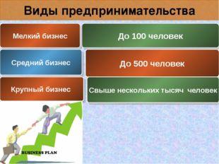 Виды предпринимательства Мелкий бизнес До 100 человек Средний бизнес До 500 ч