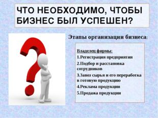 ЧТО НЕОБХОДИМО, ЧТОБЫ БИЗНЕС БЫЛ УСПЕШЕН? Владелец фирмы: Регистрация предпри