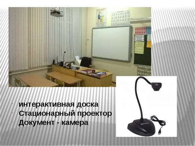 интерактивная доска Стационарный проектор Документ - камера