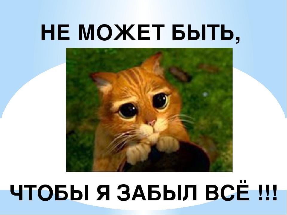 НЕ МОЖЕТ БЫТЬ, ЧТОБЫ Я ЗАБЫЛ ВСЁ !!!