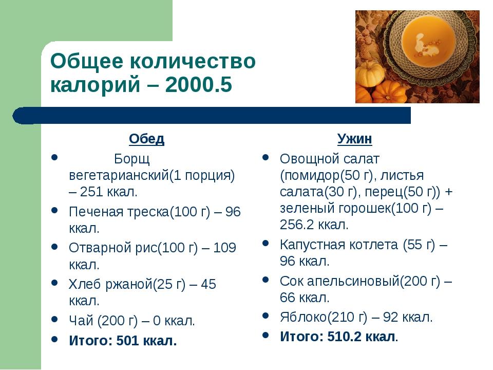 Общее количество калорий – 2000.5 Обед Борщ вегетарианский(1 порция) – 251 кк...