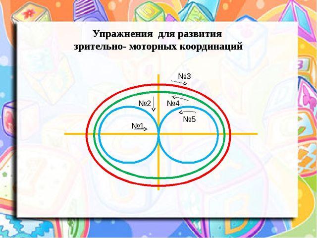 Упражнения для развития зрительно- моторных координаций №1 №2 №3 №4 №5