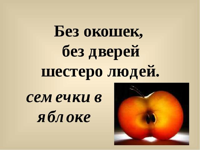 Без окошек, без дверей шестеро людей. семечки в яблоке