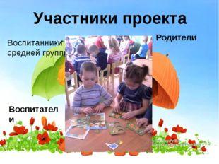 Участники проекта Воспитанники средней группы Родители Воспитатели