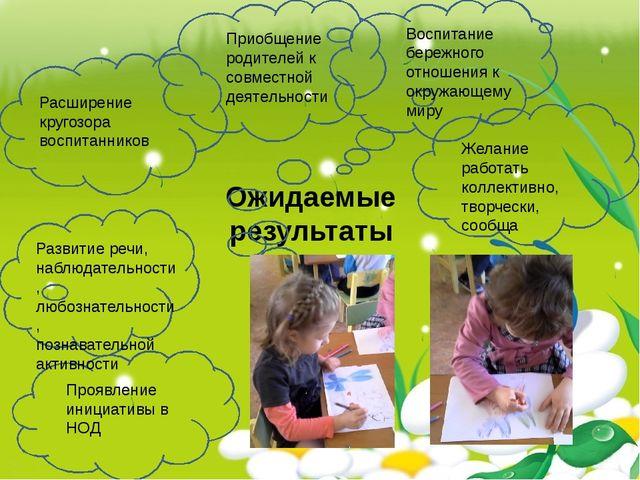 Ожидаемые результаты Расширение кругозора воспитанников Воспитание бережного...