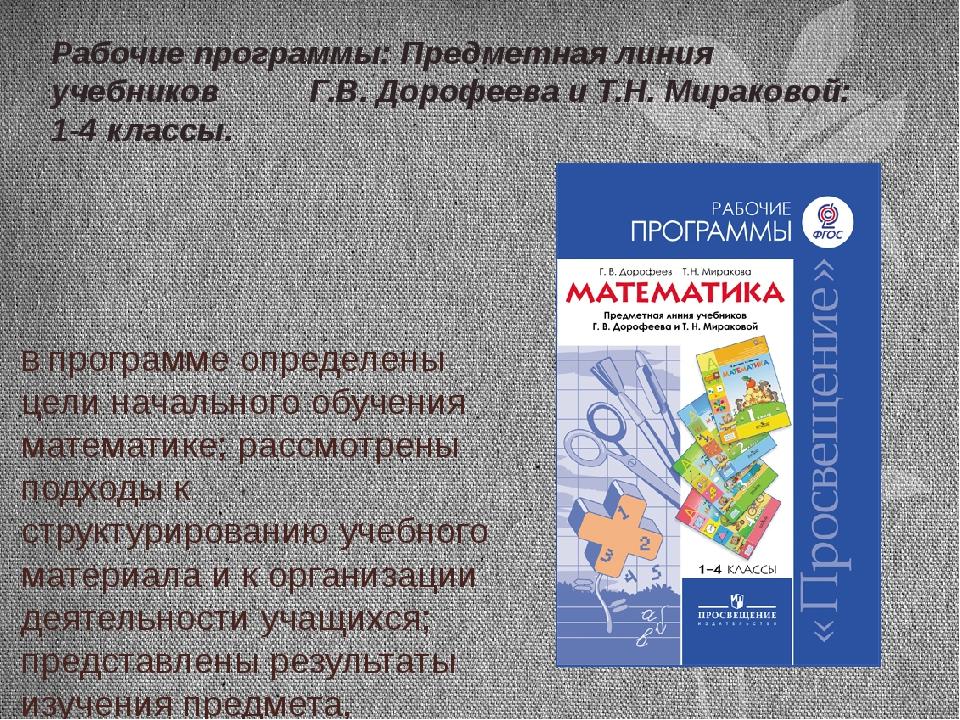 В программе определены цели начального обучения математике; рассмотрены подхо...