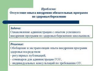 Решение: Обобщение и экстраполяция опыта внедрения программ здоровья посредст