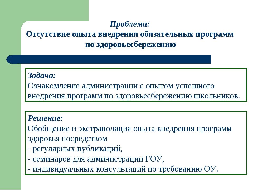 Решение: Обобщение и экстраполяция опыта внедрения программ здоровья посредст...