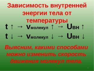 Зависимость внутренней энергии тела от температуры t ↑ → vмолекул ↑ → Uвн ↑ t