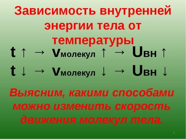 Зависимость внутренней энергии тела от температуры t ↑ → vмолекул ↑ → Uвн ↑ t...