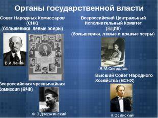 Органы государственной власти Совет Народных Комиссаров (СНК) (большевики, ле