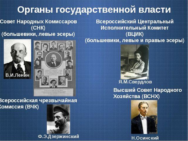 Органы государственной власти Совет Народных Комиссаров (СНК) (большевики, ле...