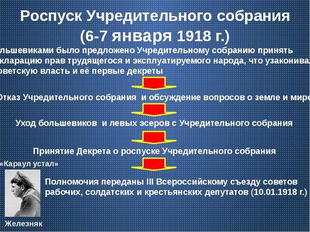 Роспуск Учредительного собрания (6-7 января 1918 г.) Большевиками было предло...