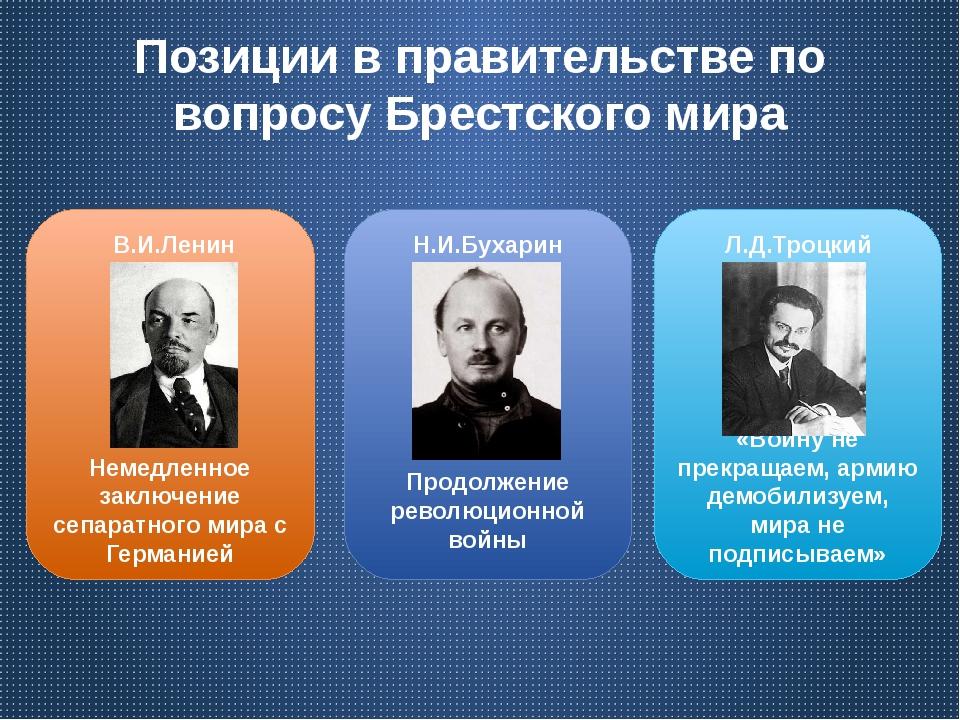 Позиции в правительстве по вопросу Брестского мира Немедленное заключение сеп...