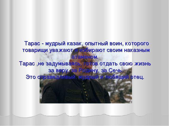 Тарас - мудрый казак, опытный воин, которого товарищи уважают и избирают сво...
