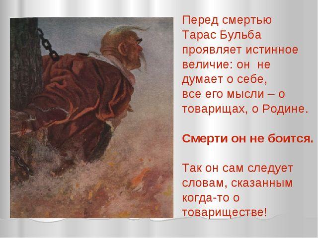 Перед смертью Тарас Бульба проявляет истинное величие: он не думает о себе, в...