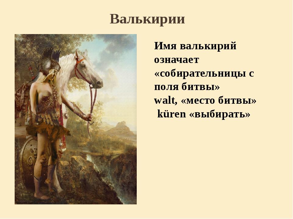 Валькирии Имя валькирий означает «собирательницы с поля битвы»  walt, «место...