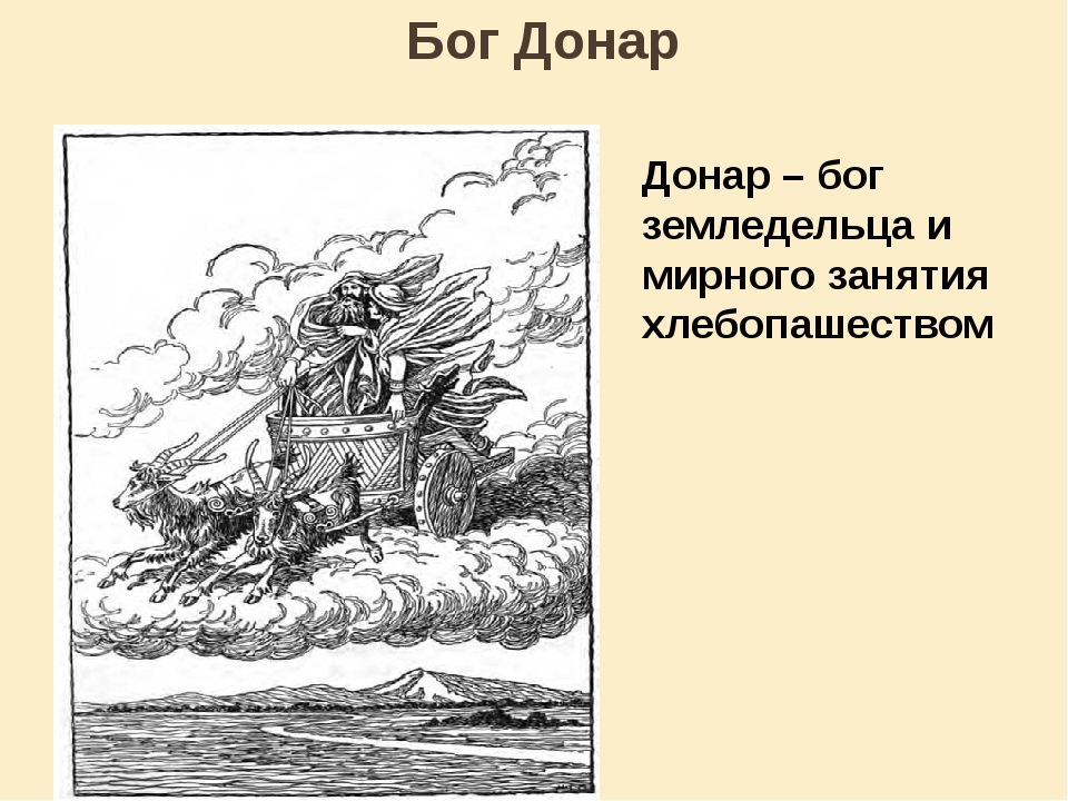 Бог Донар Донар – бог земледельца и мирного занятия хлебопашеством