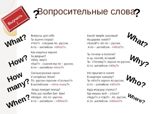 Вопросительные слова ? ? Where? Who? Why? What? What? How? When? How many? Вы...
