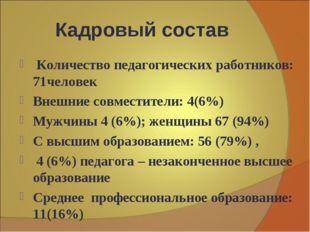 Кадровый состав Количество педагогических работников: 71человек Внешние совме