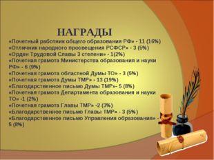 НАГРАДЫ «Почетный работник общего образования РФ» - 11 (16%) «Отличник народ