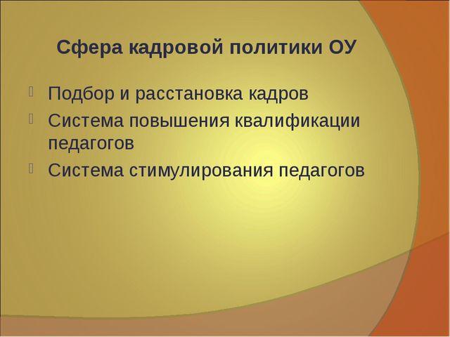 Сфера кадровой политики ОУ Подбор и расстановка кадров Система повышения квал...