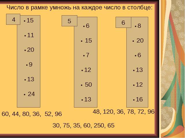 Число в рамке умножь на каждое число в столбце: • 15 • 11 • 20 • 9 • 13 • 24...